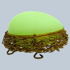 Antique Palais Royal Green Opaline Glass Egg Shaped Casket Box