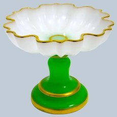 Large Antique French Green and White Opaline Glass Bowl Tazza Bowl