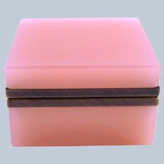 Vintage Pink Opaline Glass Square Box with Smooth Dore Bronze Mounts