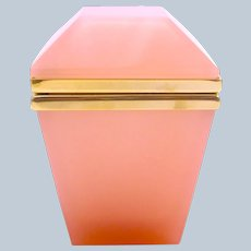 Unusual Pink Opaline Glass Casket with Smooth Dore Bronze Mounts.