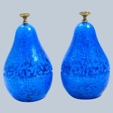 Unusual Pair of Vintage Glass Pear Box with Dore Bronze Finials