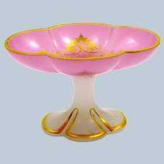 Unusual Antique French Pink and White Opaline Dish Highlighted in Gold.