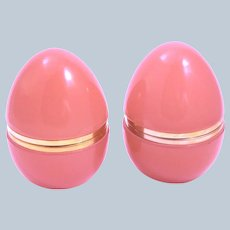 Pair of Large Antique Peach Opaline Glass Egg Casket Box Smooth Dore Bronze Mounts