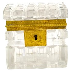 Antique Charles X Baccarat Cut Crystal Glass Casket Box.