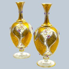 Pair of Antique Moser Glass Vases with Jewelled Flowers.