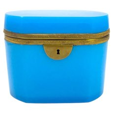 Lovely French circa 1860 Blue Opaline Casket