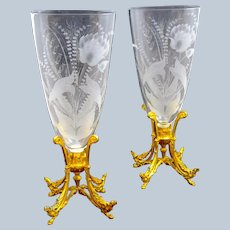 Pair of Exceptional Antique BACCARAT Crystal Vases with Dore Bronze Mounts.