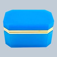 Rare XL Large Antique Blue Opaline Glass Casket Box with Smooth Dore Bronze Mounts.