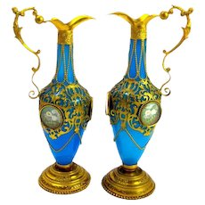 A Pair of Antique High Quality Palais Royal Opaline Glass and Dore Bronze Vases