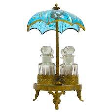 Unusual Antique French Glass Umbrella Perfume Set.
