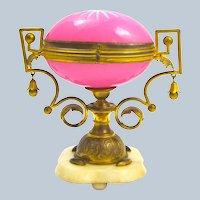 Large Antique Palais Royal Pink Opaline Glass Egg Casket