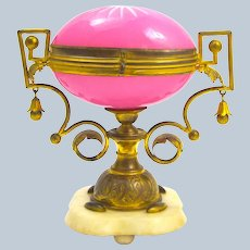Large Antique Palais Royal Pink Opaline Glass Egg Casket