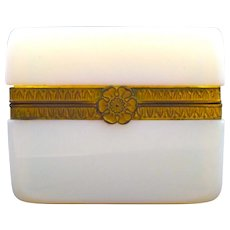 Antique French White 'Bulle de Savon' Opaline Casket Box with Bow Clasp