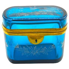 Large Antique French Turquoise Blue Crystal Casket Enamelled with Pretty Gold and Silver Flowers and Bird