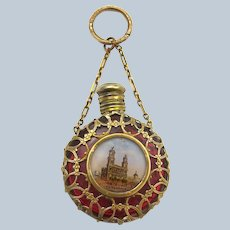 Antique Palais Royal Ruby Red Glass Scent Bottle with Gilded Bronze Chatelaine and Finger Ring.