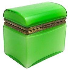 Large Antique Italian Murano Green Opaline Overlay Glass Casket Box .