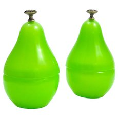 Pair of Vintage Green Opaline Glass Pear Box with Dore Bronze Finials.