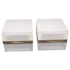 Pair of Antique White Opaline Glass Square Boxes with Fancy Dore Bronze Mounts and Lift Clasp.