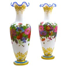 Stunning Large Pair of Baccarat Opaline Vases by Jean Francoise Robert Decorated with Hand Painted Flowers.
