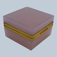 Antique Murano Square Pink 'Alexandrite' Glass Casket Box with Intricate Dore Bronze Mounts and Lift Clasp.