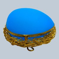 Antique Palais Royal Blue Opaline Glass Egg Shaped Casket Box in a Dore Bronze Nest.