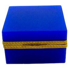 Unusual Vintage Lapis Blue Opaline Glass Italian Murano Square Casket.