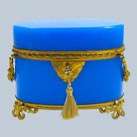 Large High Quality Antique French Blue Opaline Glass Oval Casket Box.