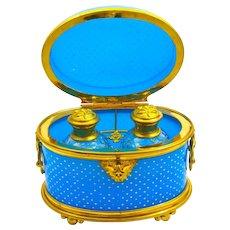 Fabulous Large Antique BACCARAT French Blue Opaline Glass Perfume Casket