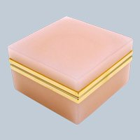 Vintage Pale Pink Opaline Glass Square Box with Smooth Dore Bronze Mounts