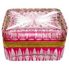 Antique French Pink Cut to Clear Crystal Glass Casket with Ornate Dore Bronze Mounts.