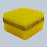 Vintage Murano Square Apricot Opaline Glass Casket Box with Fancy Dore Bronze Mounts and Lift Clasp.