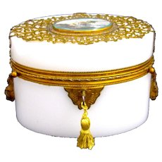 A Fine Large Antique French Oval White Opaline Glass Casket with Double Loop Handles.