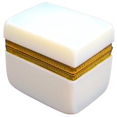 Antique French White 'Bulle de Savon' Opaline Casket Box with Dore Bronze Mounts.