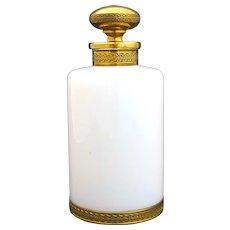 Antique French White Opaline 'Bulle de Savon' Glass Perfume Bottle with Dore Bronze Mounts