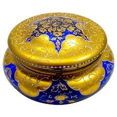 Large Antique Round MOSER Cobalt Blue Casket with Beautiful Enamel Star Decoration.