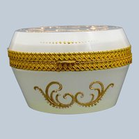 Antique Murano White Opaline Glass Oval Casket Box with Fancy Dore Bronze Mounts and Lift Clasp.