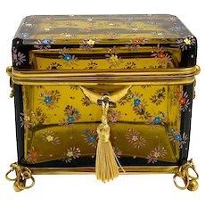 Antique Bohemian MOSER Amber Glass Casket Box with Gold Enamelled Flower Decoration.