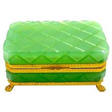 Vintage Green Opaline Glass Cut Rectangular Casket Box with  Cross Hatching Diamond Design.