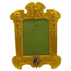 Superb Antique French Gilt Bronze and Silk Frame with Fine Limoges Miniature.