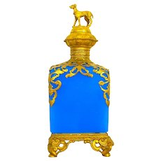 Large Antique Palais Royal Blue Opaline Glass Perfume Bottle with Dore Bronze Stopper Modelled as a Dog.