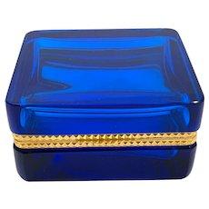 Vintage Murano Aquamarine Blue Glass Casket Box