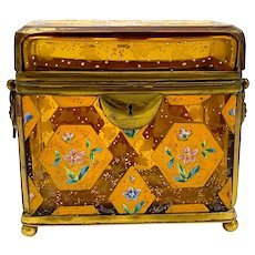 Antique MOSER Amber Glass Casket with Hexagonal and Diamond Pattern