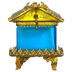 Antique French Dore Bronze Pagoda Style Casket Box with Turquoise Bevelled Glass.