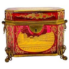 Stunning Antique Bohemian Cranberry Pink Enamelled Overlay Glass Spa Casket Box