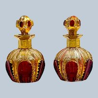 Pair of Antique Miniature MOSER Perfume Bottles with Ruby Cabochons.