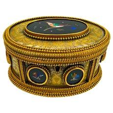 High Quality Antique Tahan Paris, Pietra Dura Jewellery Casket Box and Original Key.