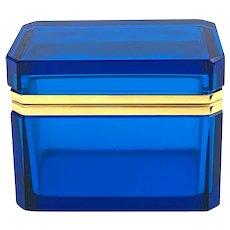 Vintage Murano Aquamarine Blue Rectangular Glass Casket Box