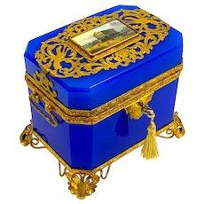 Rare Antique French Lapis Blue Opaline Perfume Casket Box with Large Miniature of Paris.