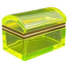 Vintage Uranium Glass Casket Box with Domed Lid and Plain Dore Bronze Mounts .