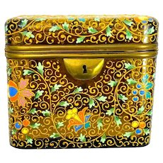 Antique Bohemian MOSER Amber Glass Casket Box with Colourful Enamelled Flowers